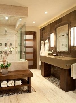 Modern bathroom tile design.