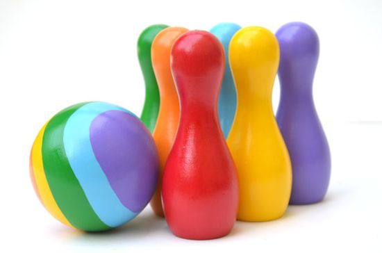 Rainbow Bowling Set  Wooden Educational Toy by BrightLifeToys, $30.00