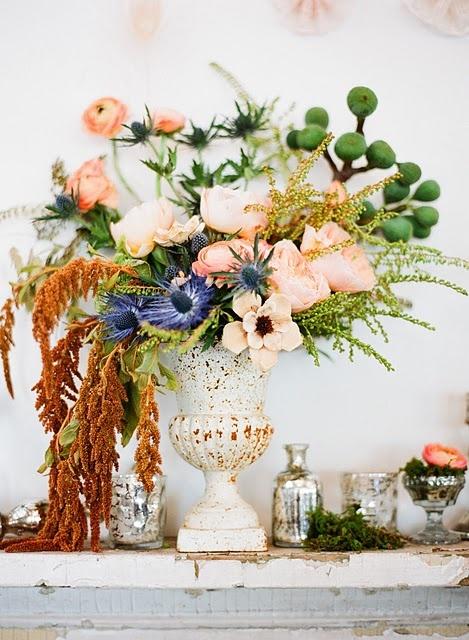 Gorgeous! vase & mercury urns are perfection, floral arrangement