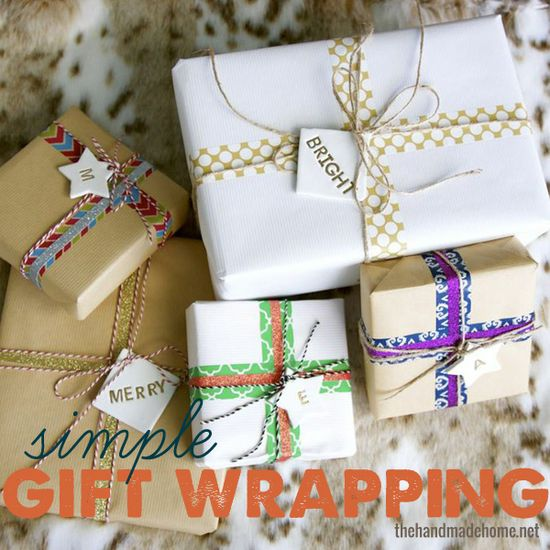 simple gift wrapping ideas from thehandmadehome.net