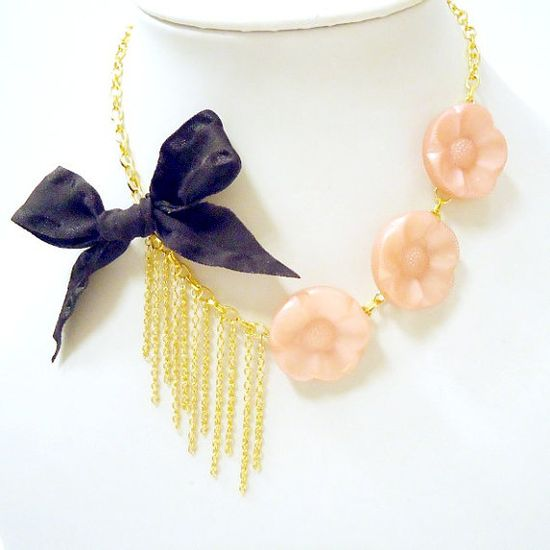 Vintage Button Necklace Pink Jewelry Gold Chain by jewelrybycarmal, $22.00