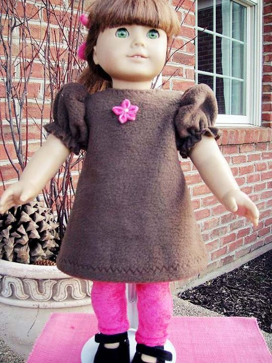 Fleece Dress and Leggings for American Girl by twocutedollclothes, $15.00.   American Girl doll clothes