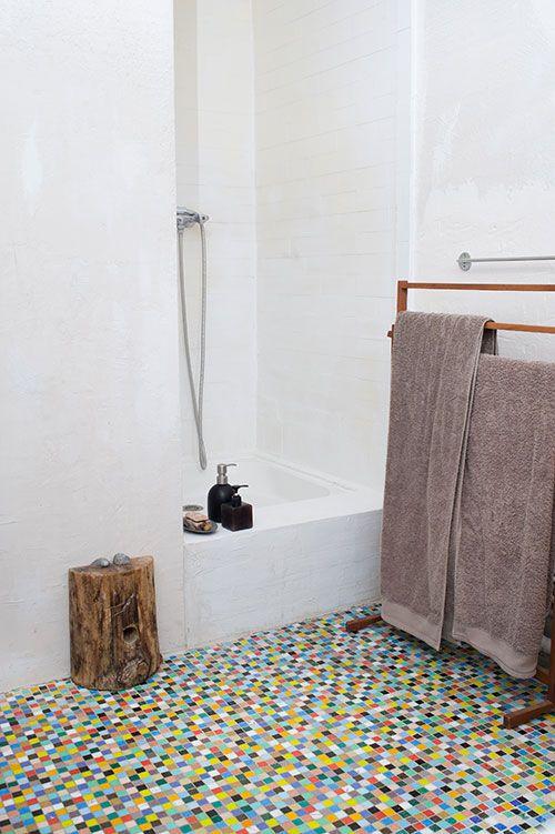 best floor ever. // Rainbow glass tile flooring! Isabelle Rivoire-Grange's house
