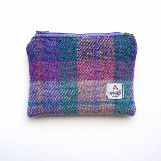 Harris Tweed padded pouch cosmetic bag in purple and by LifeCovers, $26.00