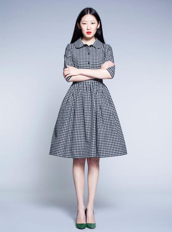 Black and White Tartan Dress @ mrs pomeranz/etsy