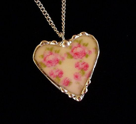 Broken china jewelry heart pendant necklace pink roses mint green background antique French china
