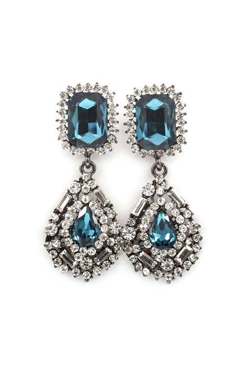 Delphine Crystal Earrings in Blue