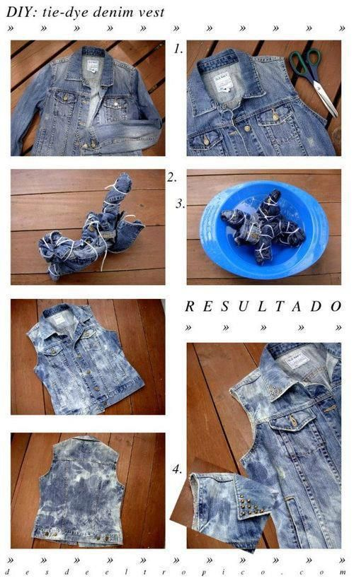 How to turn a regular denim jacket into a bleached and distressed vest!