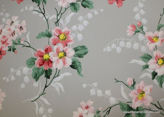 1940's Vintage Wallpaper pink apple blossoms on gray background