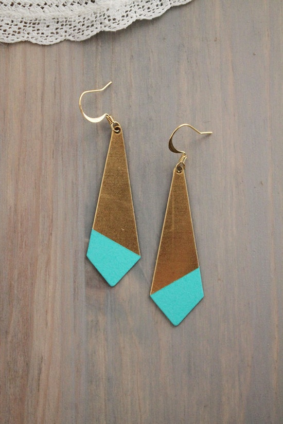 Large Pointed Angle Turquoise Color Dipped Brass by AcuteDesigns