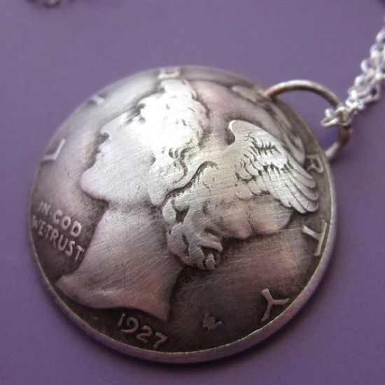 Mercury Dime Necklace by sudlow on Etsy, $33.00
