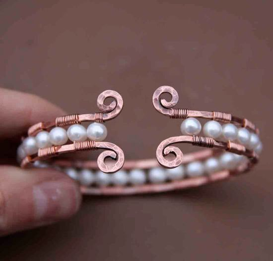 Copper and Pearl Cuff Bracelet by AlaskaFirefly on Etsy, $44.00