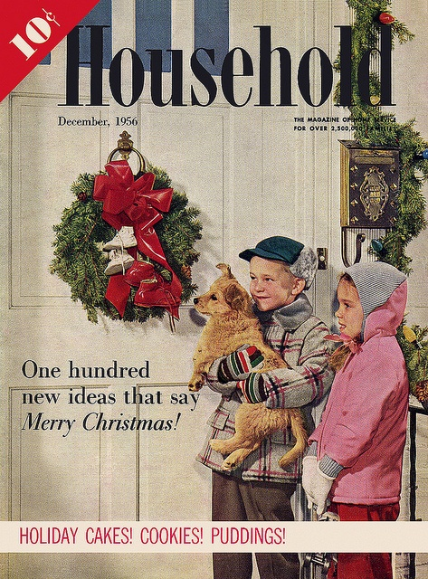 The charming Christmas themed cover of Household magazine, December 1956. #vintage #1950s #Christmas #magaznes