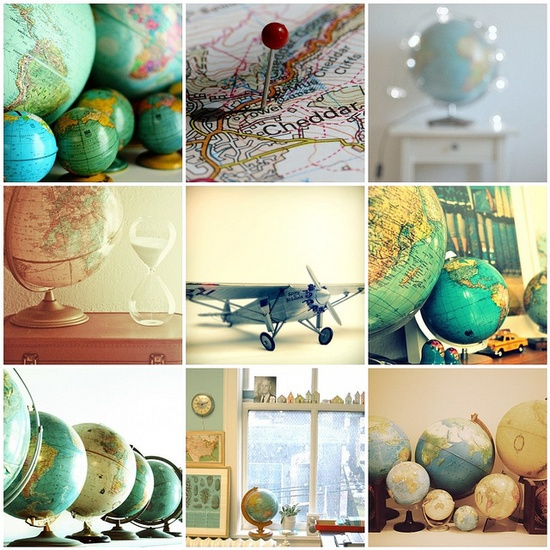 Travel globes..@Louanne Dietrich Lewis, although most of our travels are in the States, we should start collecting stuff like globes!
