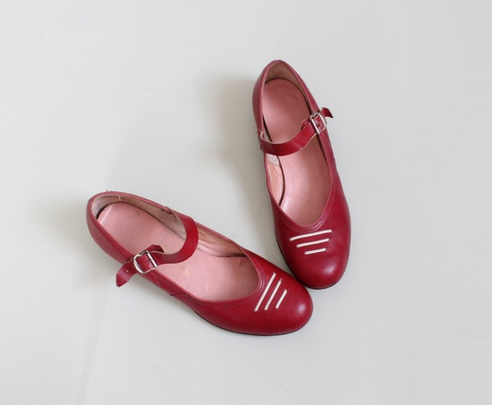 Vintage 1950s Red Mary Jane Flats.