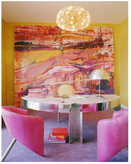 love this room, except the yellow walls.  In order to make that amazing painting pop, i would of done the walls in white.