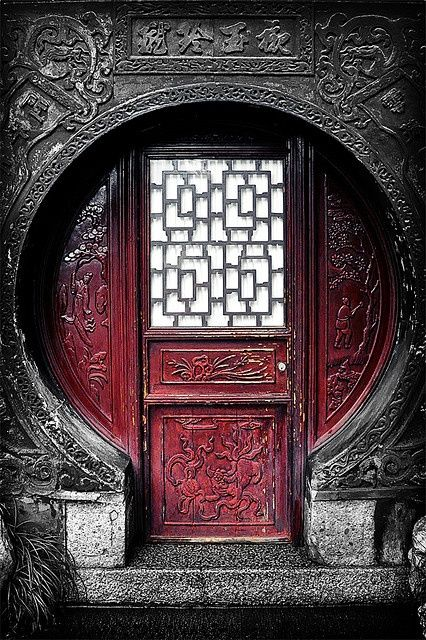 Awesome red colored door in Shanghai, China
