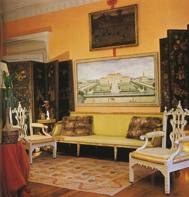 Evangeline Bruce family home in the 1970's--close up of chairs that were in Nancy Lancaster's bedroom at Haseley Court, Architectural Digest,