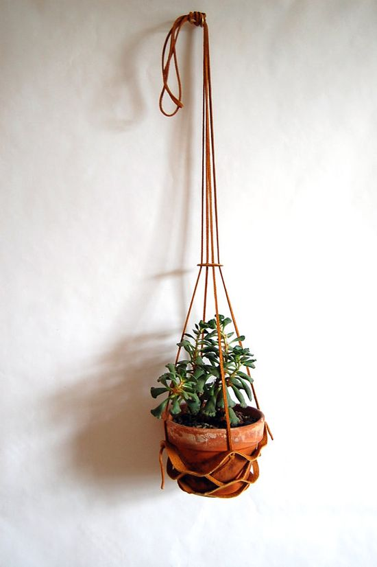 Leather Hanging Plant Holder in Tan.