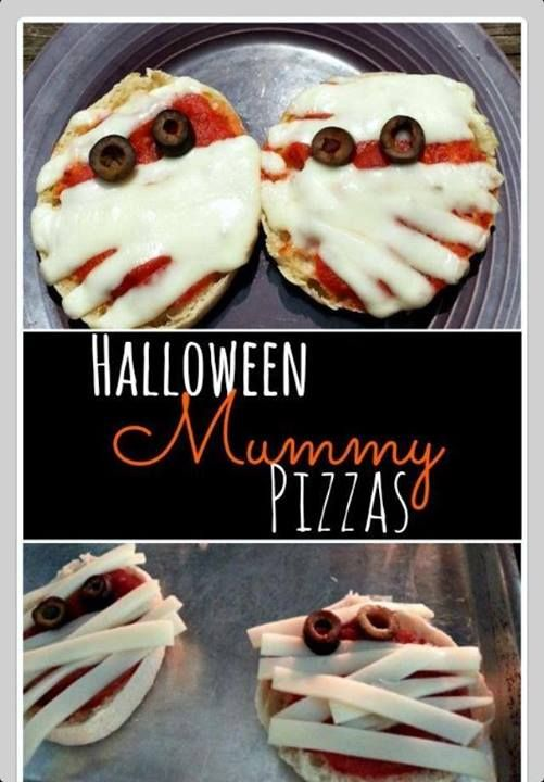 HALLOWEEN Mummy Pizza- love themed treats for every meal! Brought to you by Shoplet.com - everything for your business.