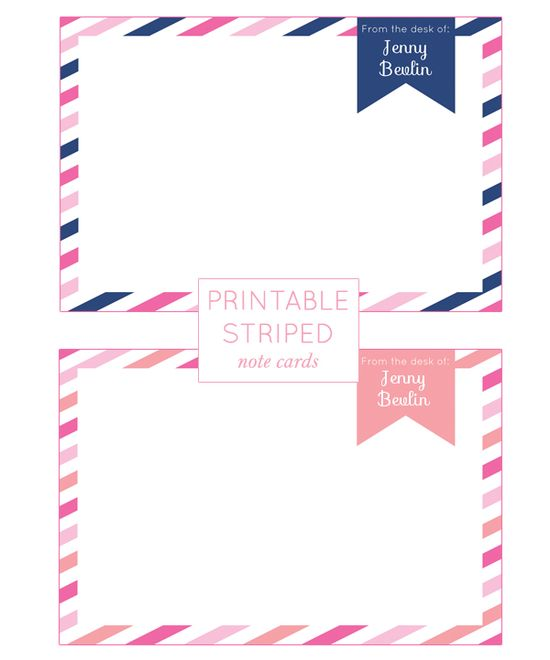 Customizable Printable Striped Note Cards