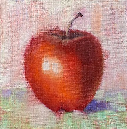 Small Oil Painting Apple Daily Painting by CynthiaHaaseFineArt