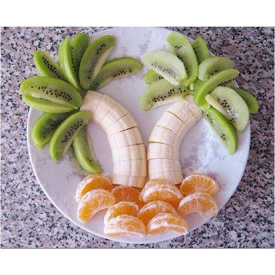 Fruit dessert, looks great, easy to make and good for you. Just a shame to ruin a work of art when you eat it.
