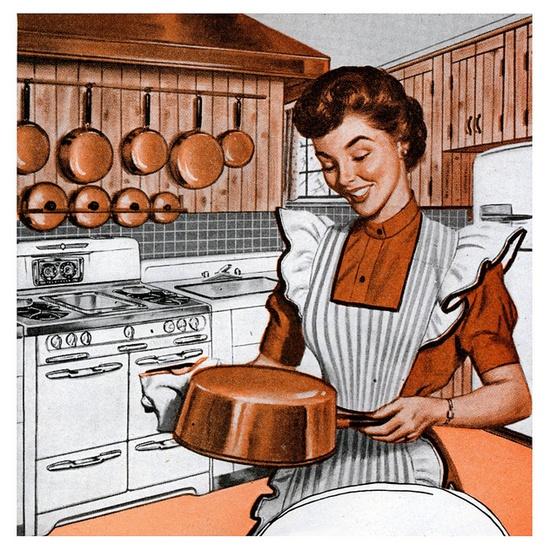 She Loves Her Rheem Coppermatics! #vintge #1950s #kitchen #cookwear #homemaker