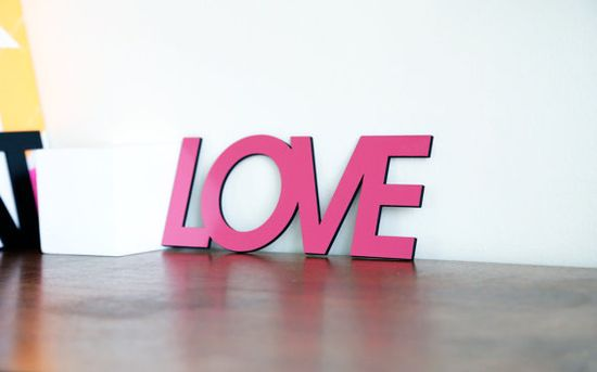LOVE Word Sign. Pink Wood Sign. Modern Home Design. by Railis, $34.00