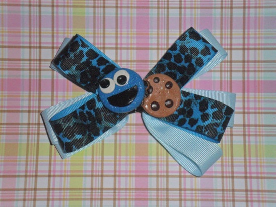 Cookie Monster Polymer Clay center large bow me by roxannespindler, $10.00