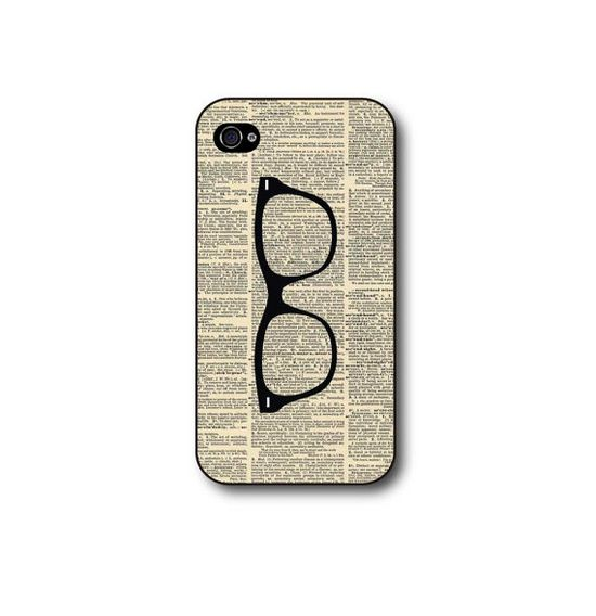 Iphone 4 case, iphone 4s case with nerd glasses on printed vintage dictionary page, geekery. $11.99, via Etsy.