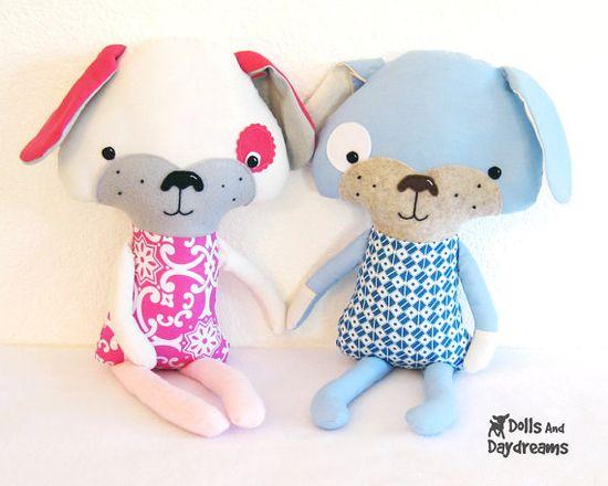 Puppy Dog Softie PDF Sewing Pattern Stuffed by DollsAndDaydreams, $10.00