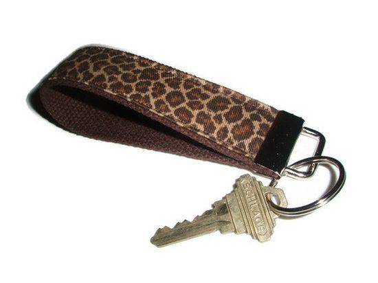 Leopard  Key Chain Wristlet by xoribbons on Etsy, $8.00
