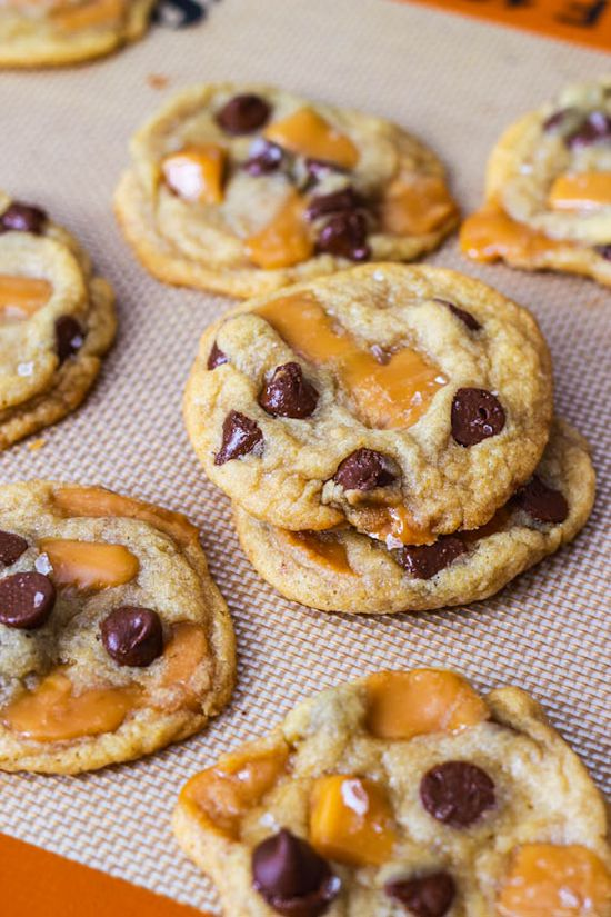 Salted Caramel Chocolate Chip Cookies. must make these.