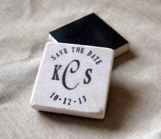Monogram Save the Date Magnets