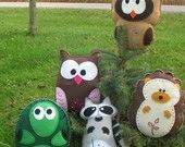 Woodland Forest Stuffed Animal PATTERNS Sew by Hand Felt Owl Turtle Hedgehog Raccoon Felt Plushies - Easy