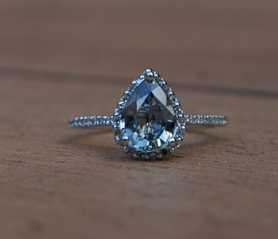 Stunning pear sapphire diamond ring 14k white gold; this one is my dream ? maybe a plain silver band though...