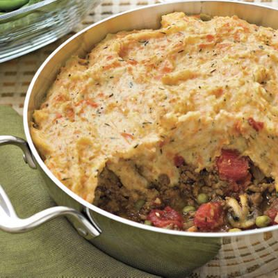 Shepherd's Pie -     Meat-and-potato pies are popular in both Ireland and Britain. Shepherd's Pie tops a beef and onion mixture with mashed potatoes; it makes for authentic comfort food.