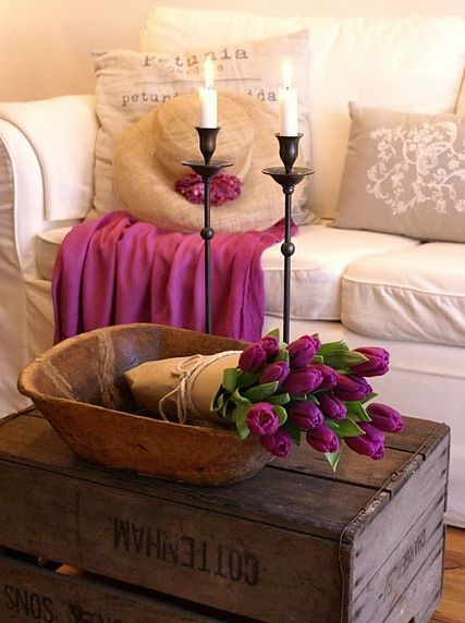 rustic candlesticks and table