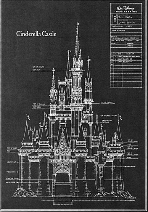 Cinderella's Castle blueprint. would be cute to print out and frame