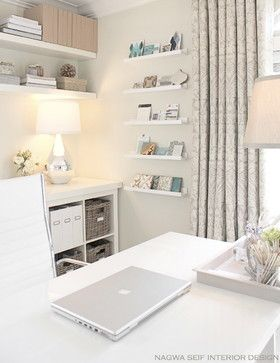 Clean, Elegant Home Office with floating wall shelves, Expedit bookcase, Martha Stewart Office products, beautiful white desk chair - Spase designed by Nagwa Seif Interior Design