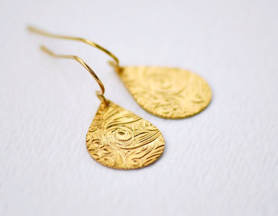 Teardrop earrings - floral textured brass drop earrings - simple modern jewelry