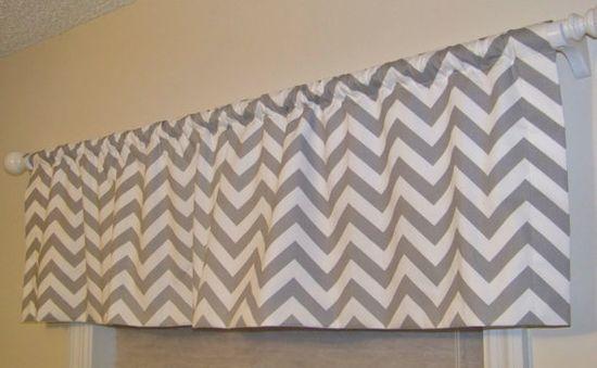 Grey Chevron Window Valance Custom Made in Storm Gray and White Zig Zag Fabric. $41.99, via Etsy.