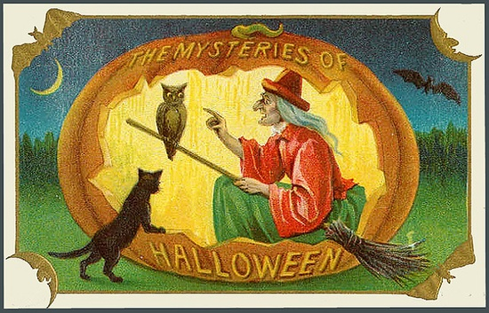 The Mysteries of Halloween--Witch Halloween Vintage Postcard