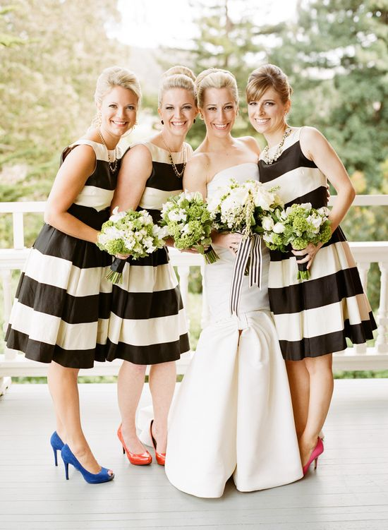 Totally in love with these bridesmaid dresses // the cut is incredibly flattering and the stripes are so fun