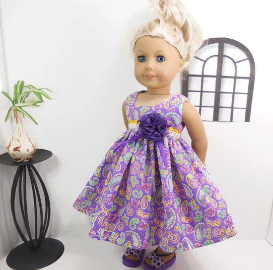 18 american girl doll dress purple paisley Easter by MegOrisDolls, $20.00