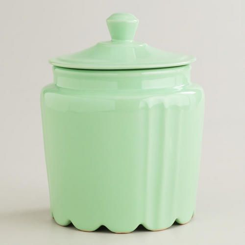 World Market Mint Scalloped Jar