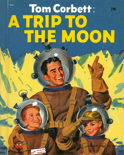 A Trip To The Moon - vintage space themed book cover.