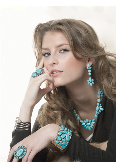 Turquoise jewelry and black