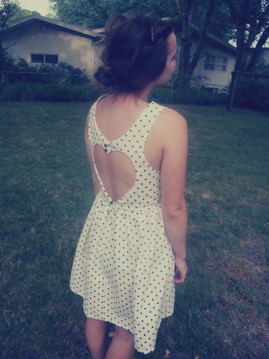 What a fun and affordable idea for bridesmaid dresses! Polka Dot Heart Shaped Open Back Dress. $50.00, via Etsy.